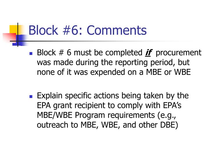 Block #6: Comments
