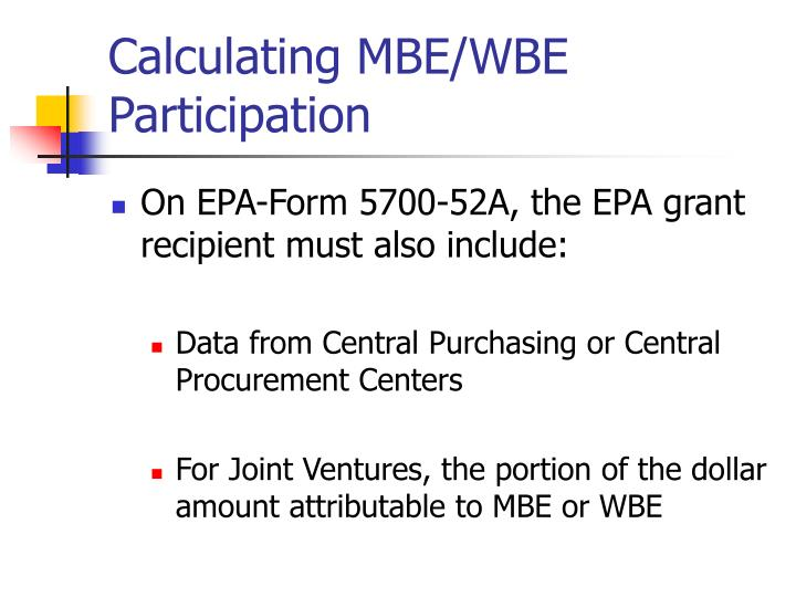 Calculating MBE/WBE Participation