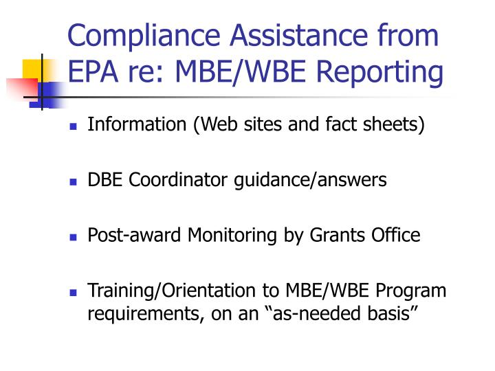Compliance Assistance from EPA re: MBE/WBE Reporting
