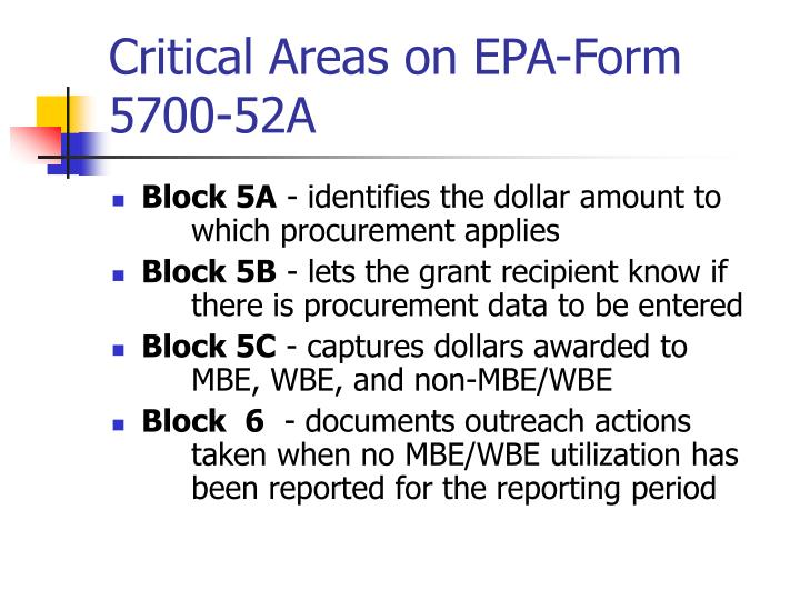 Critical Areas on EPA-Form 5700-52A