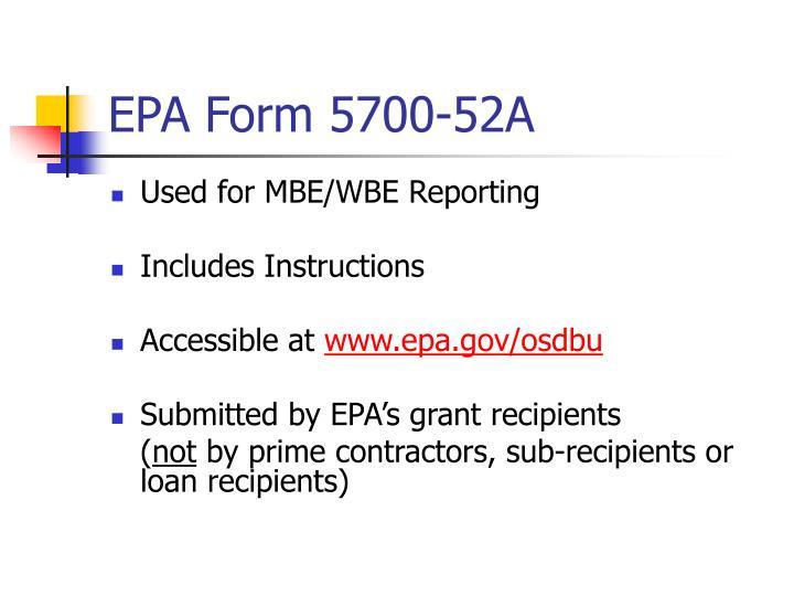 EPA Form 5700-52A