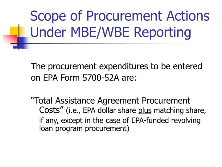 Scope of Procurement Actions Under MBE/WBE Reporting