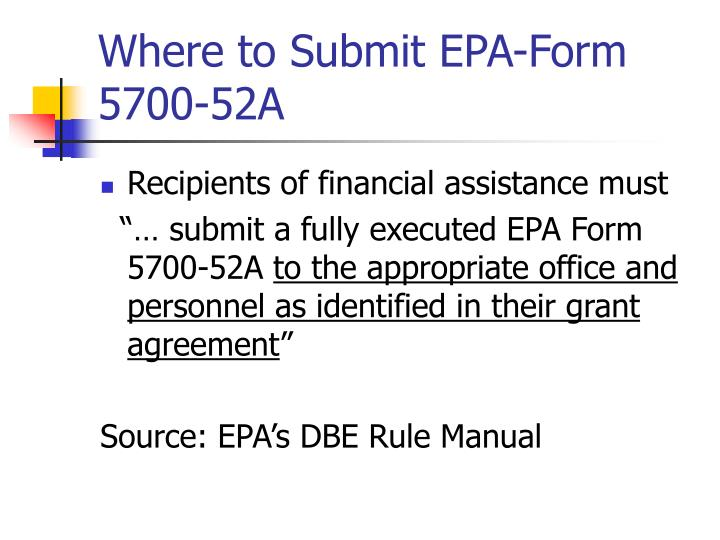 Where to Submit EPA-Form 5700-52A