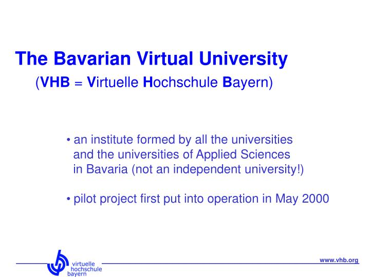 The bavarian virtual university vhb v irtuelle h ochschule b ayern