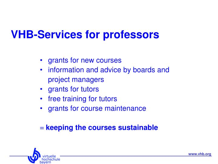 VHB-Services for professors