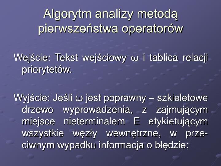 Algorytm analizy metodą pierwszeństwa operatorów