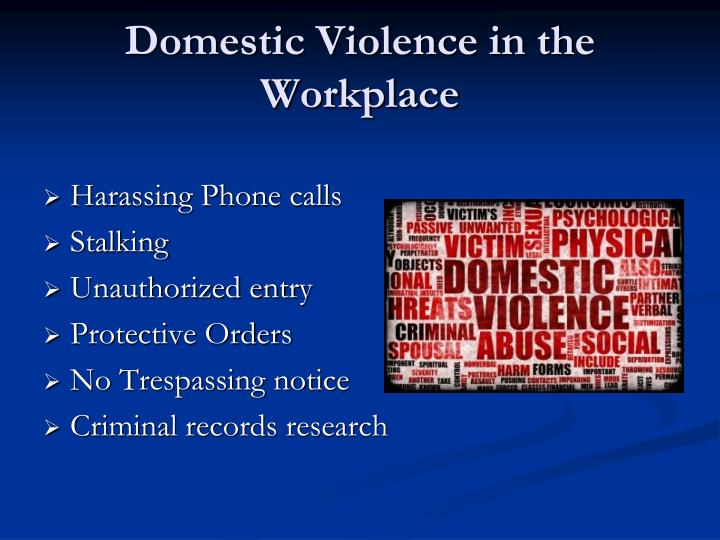 Domestic Violence in the Workplace