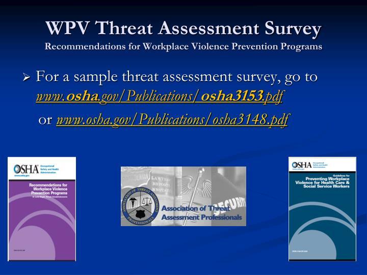 WPV Threat Assessment Survey