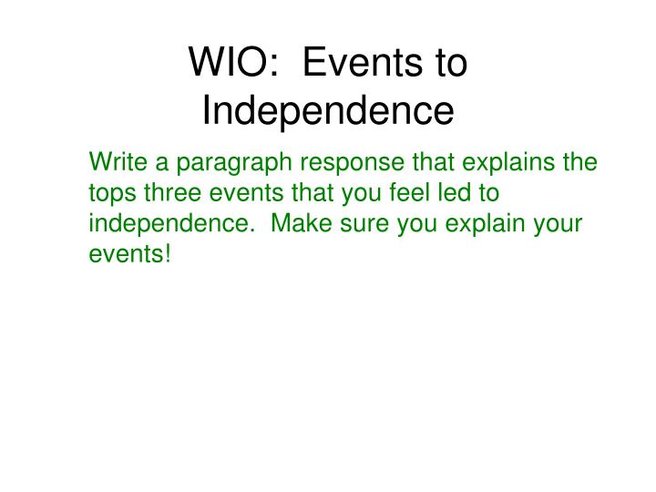 Wio events to independence