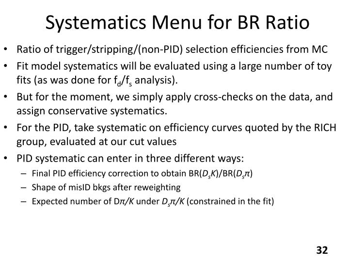 Systematics Menu for BR Ratio