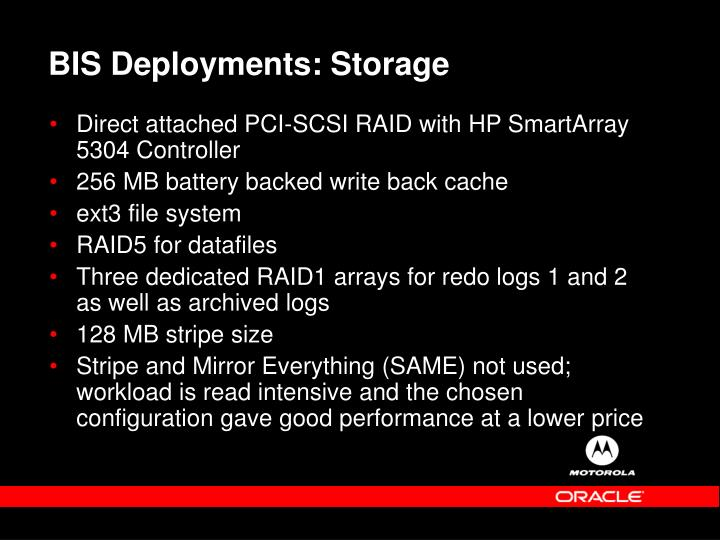 BIS Deployments: Storage