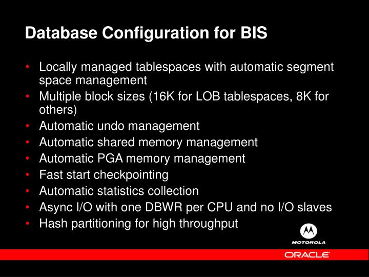 Database Configuration for BIS