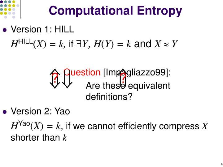 Computational Entropy