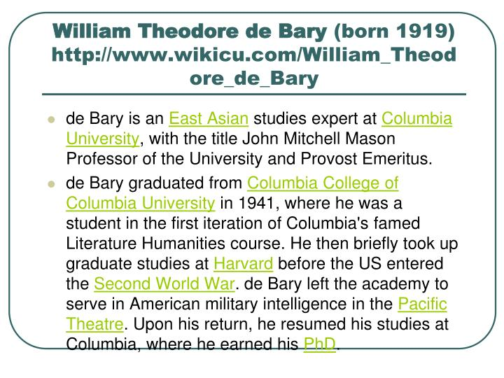 William Theodore de Bary