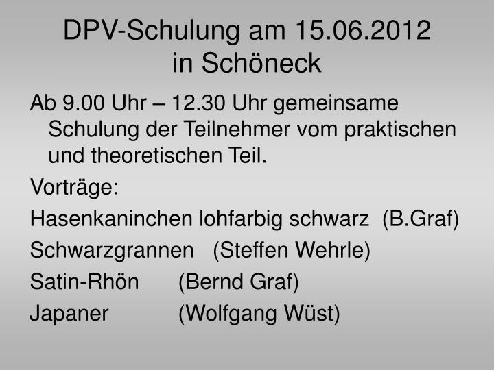 DPV-Schulung am 15.06.2012