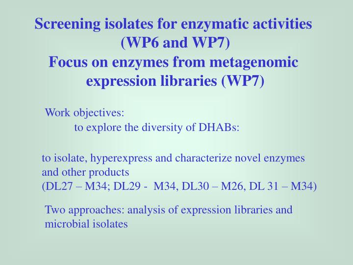 Screening isolates for enzymatic activities