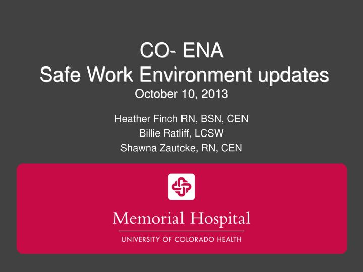 Co ena safe work environment updates october 10 2013