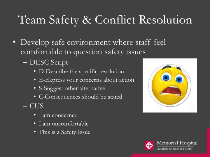 Team Safety & Conflict Resolution
