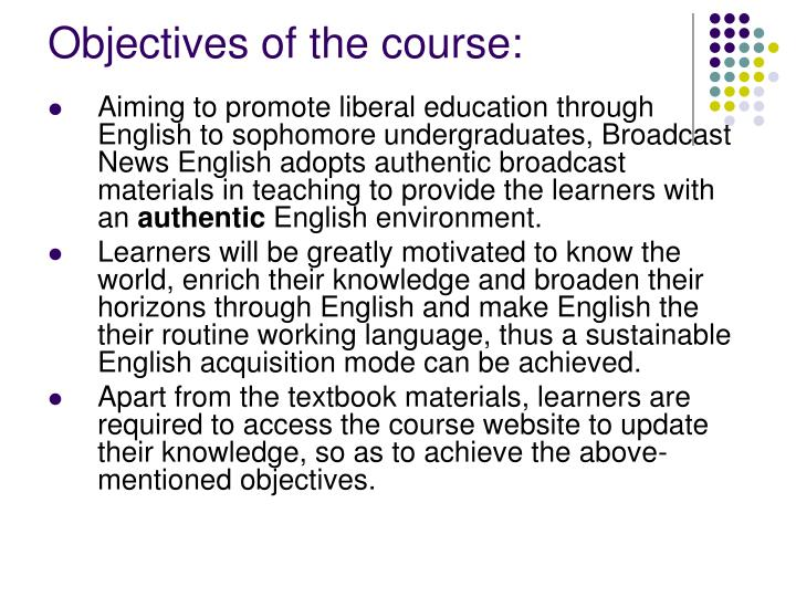 Objectives of the course: