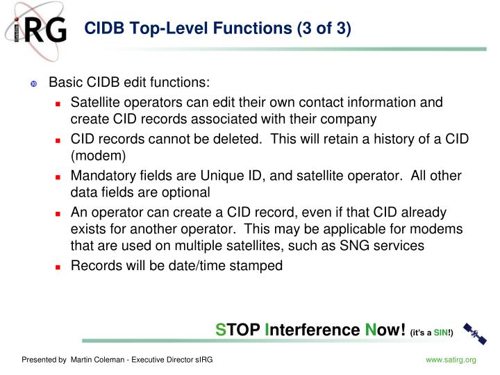 CIDB Top-Level Functions (3 of 3)