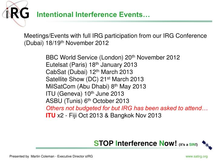 Intentional Interference Events…