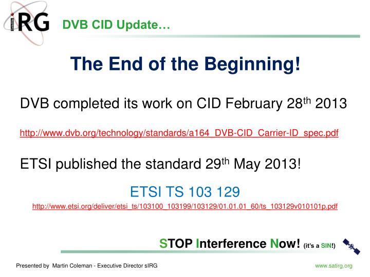 DVB CID Update…
