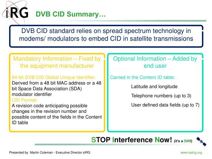DVB CID Summary…