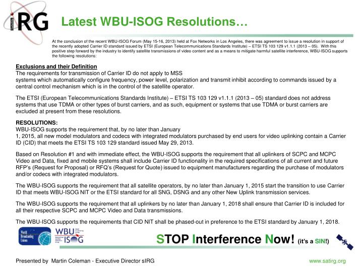 Latest WBU-ISOG Resolutions…