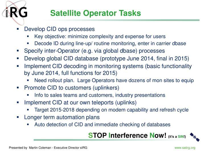 Satellite Operator Tasks