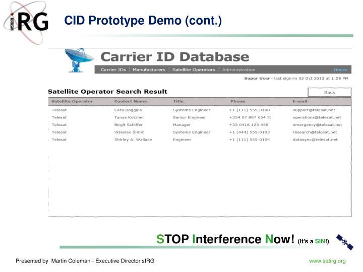 CID Prototype Demo (cont.)