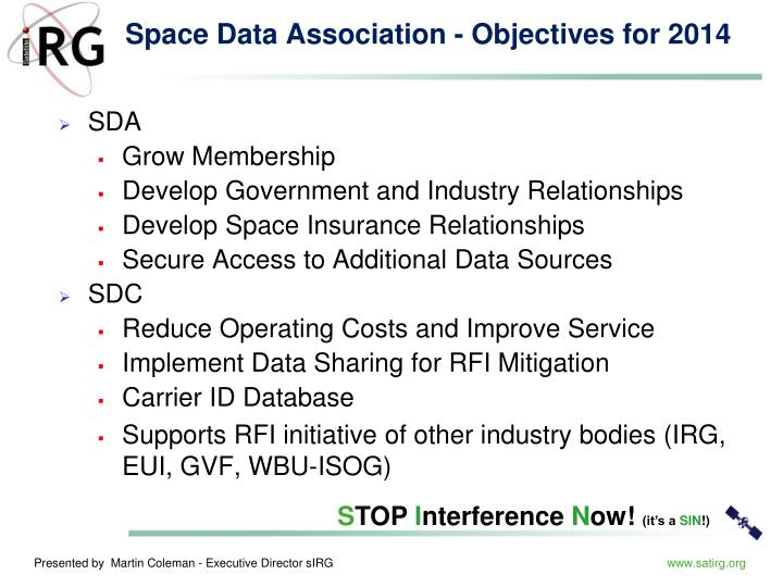 Space Data Association - Objectives for 2014