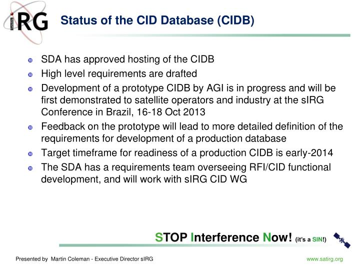 Status of the CID Database (CIDB)