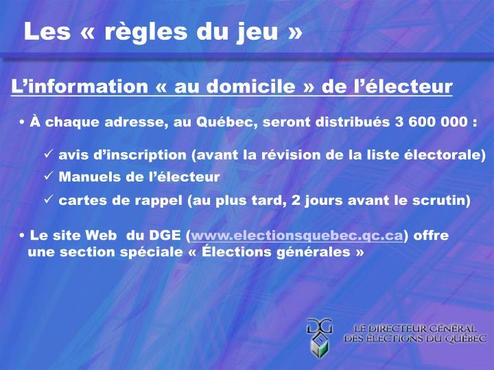 L'information «au domicile» de l'électeur