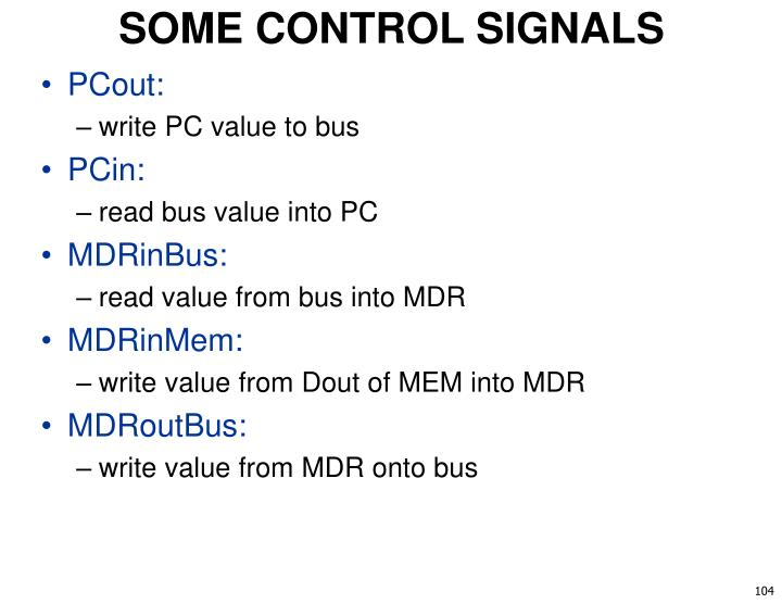 SOME CONTROL SIGNALS