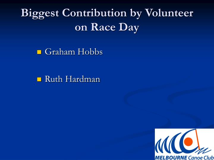 Biggest contribution by volunteer on race day