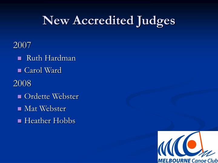 New Accredited Judges