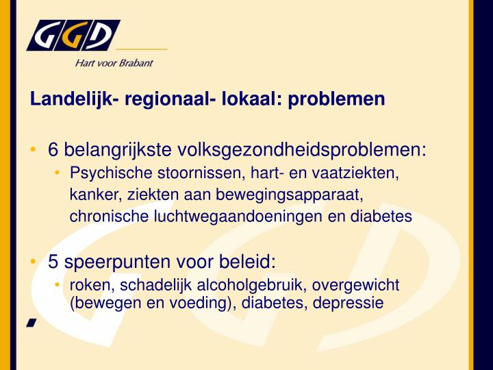 Landelijk- regionaal- lokaal: problemen