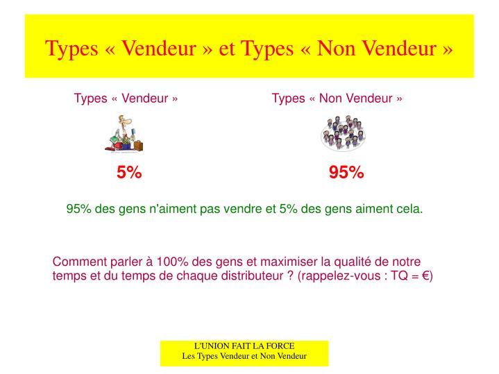 Types «Vendeur» et Types «Non Vendeur»