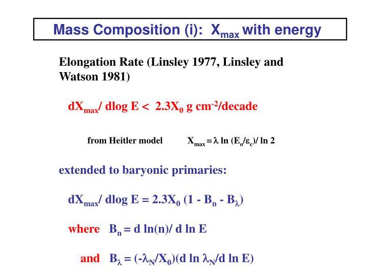 Mass Composition (i):  X