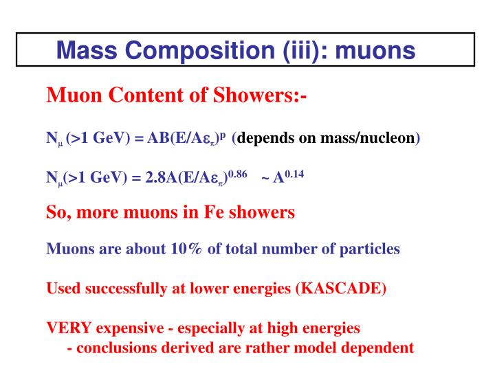 Mass Composition (iii): muons