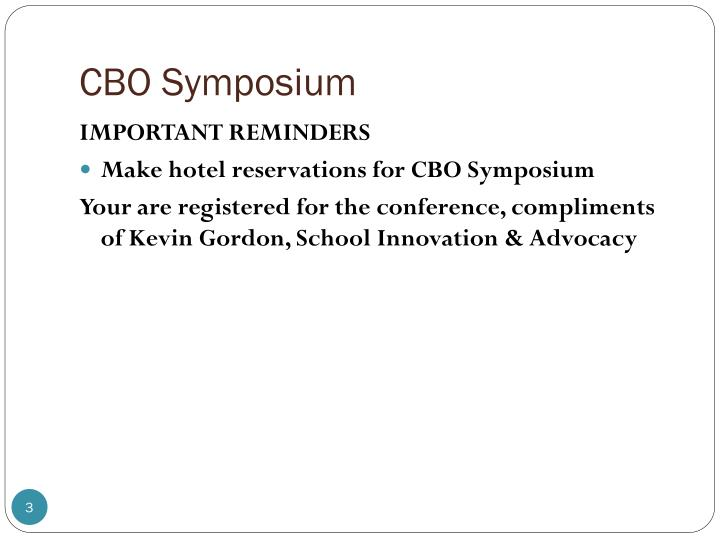 CBO Symposium