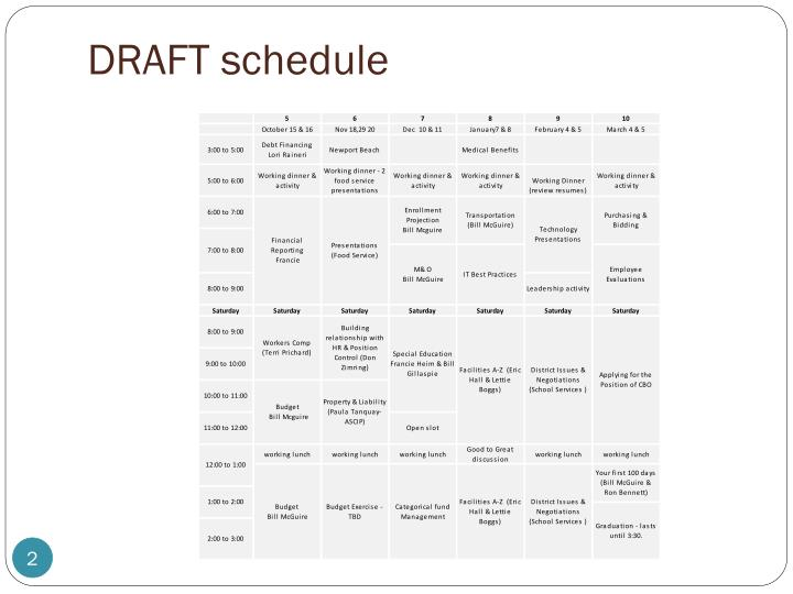 DRAFT schedule