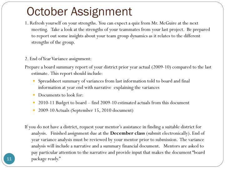 October Assignment
