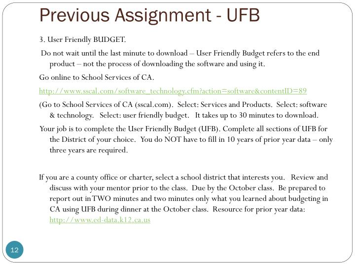 Previous Assignment - UFB