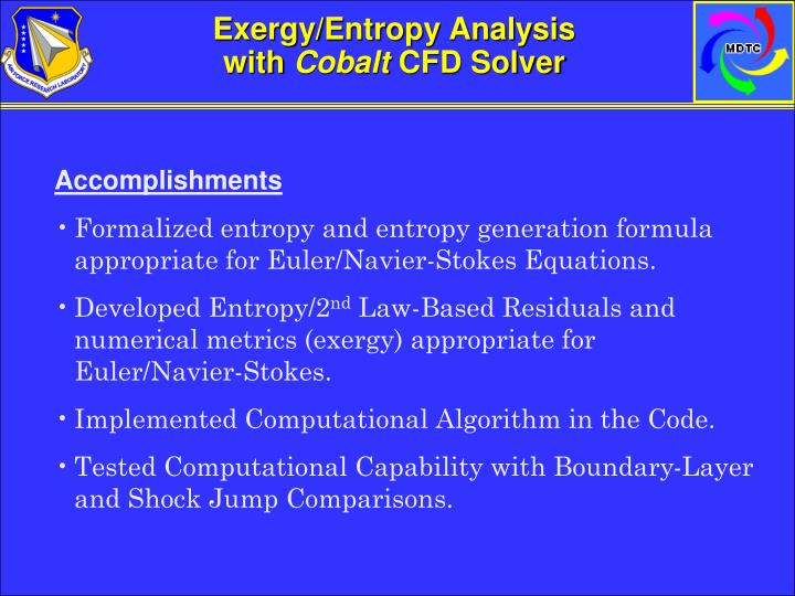 Exergy/Entropy Analysis