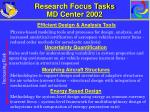 research focus tasks md center 2002