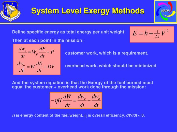 System Level Exergy Methods