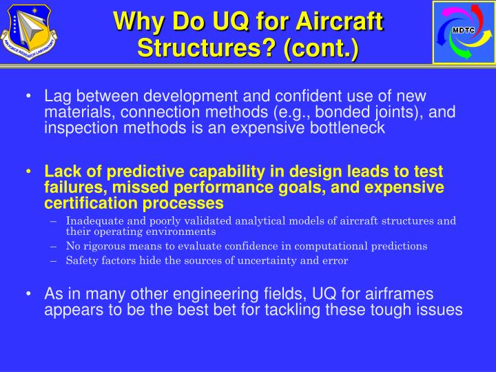 Why Do UQ for Aircraft Structures? (cont.)