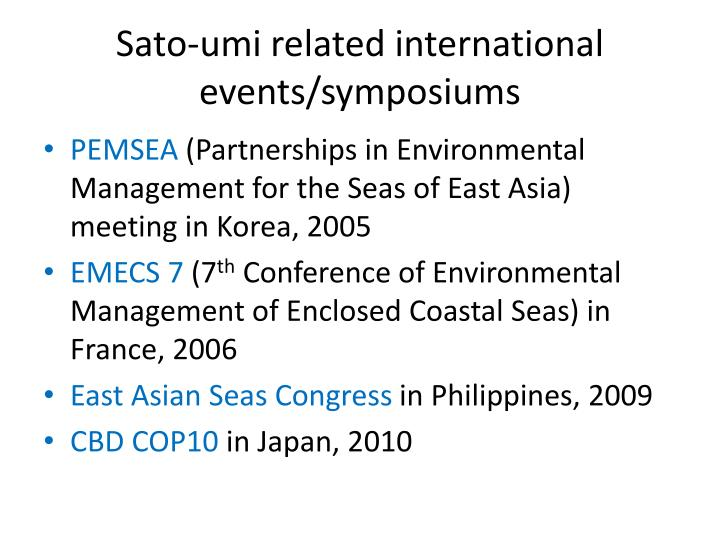 Sato-umi related international events/symposiums