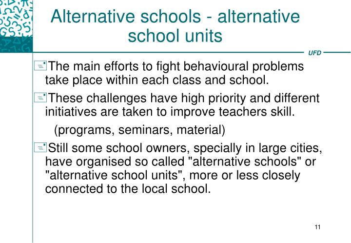 Alternative schools - alternative school units